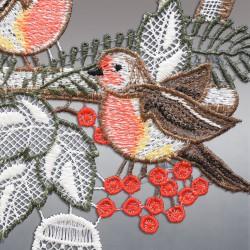 Klassisches Fensterbild Vogelhaus mit Winter-Vögeln Detailansicht Stickerei