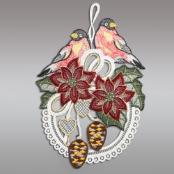 Klassisches Fensterbild Gesteck mit Christstern und Vögeln Weihnachtsdeko aus Plauener Spitze Einzeldarstellung