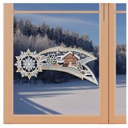 Klassisches Fensterbild Sternschnuppe mit Winterlandschaft Weihnachtsdeko aus Plauener Spitze an einem Fenster