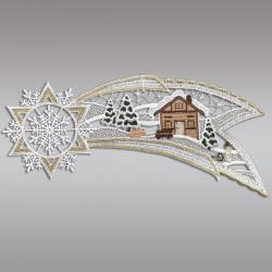 Klassisches Fensterbild Sternschnuppe mit Winterlandschaft Weihnachtsdeko aus Plauener Spitze Einzeldarstellung