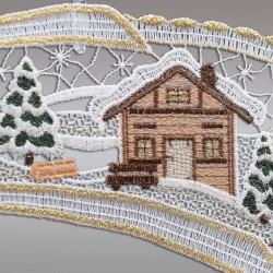 Klassisches Fensterbild Sternschnuppe mit Winterlandschaft Detailansicht Stickerei
