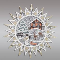 Klassisches Fensterbild Stern mit Winterlandschaft Weihnachtsdeko aus Plauener Spitze Einzeldarstellung