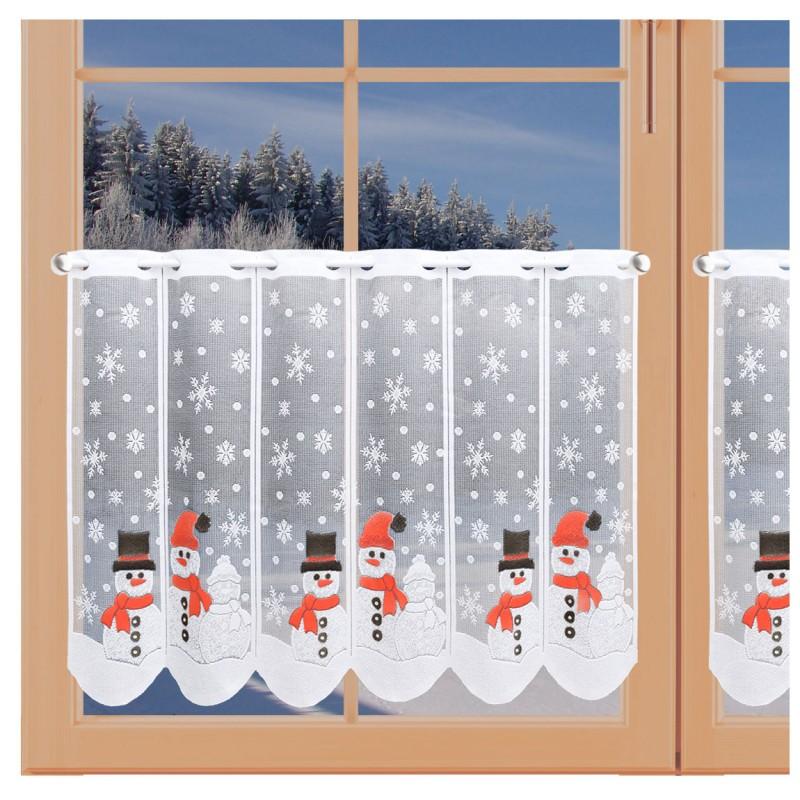Scheibengardine Schneemänner mit Glitzersteinen am Fenster