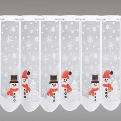Kurzgardine Schneemänner mit Glitzersteinen Musterbild