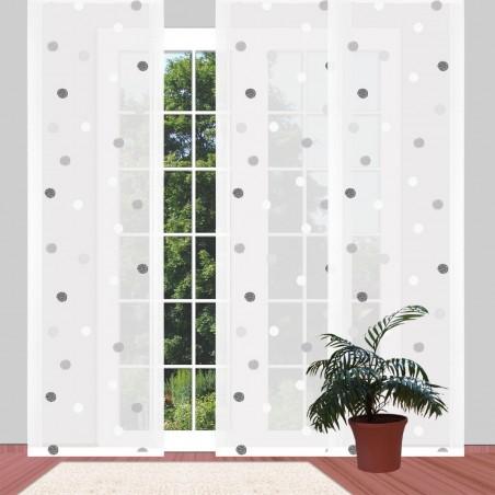 Flächengardine Langstore 'Punkte schwarz-weiß' moderner Flächenvorhang 2 Höhen