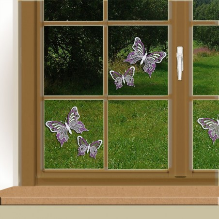 Set 2 Stück Fensterbilder Schmetterlinge lila Beispielbild mit 2 Sets