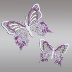 Set 2 Stück Fensterbilder Schmetterlinge lila Detailansicht
