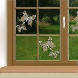 Set 2 Stück Fensterbilder Schmetterlinge gelb Beispielbild mit 2 Sets