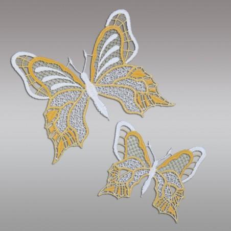 Set 2 Stück Fensterbilder Schmetterlinge gelb Detailansicht