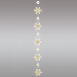 Girlande / Fensterbild Schnee-Stern weiß-gold Einzelansicht
