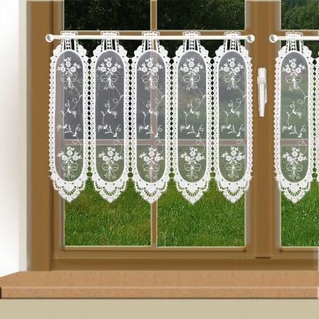 Stickerei-Scheibengardine Fleur Weiß an einem Fenster