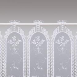 Stickerei-Scheibengardine Fleur Weiß Detailansicht Stangendurchzug
