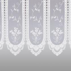 Stickerei-Scheibengardine Fleur Weiß Detailansicht des unteren Stickerei-Abschlusses