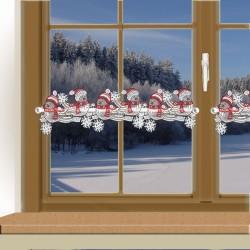 Weihnachts-Feenhausspitze WINTER-SPATZEN  an einem Winterfenster