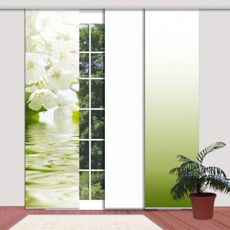 """Beispiel: Farbverlauf weiß und grün mit Schiebevorhang """"Kirschblüte""""- incl. in Klemmleiste und Paneelwagen"""