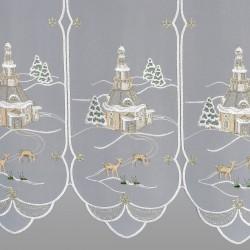 Scheibenhänger Winterkirche mit Reh Detailansicht