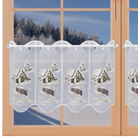 Winter-Panneau Haus im Schnee am Fenster