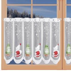 Scheibengardine Weihnachtsmann mit Tannenbaum am Fenster