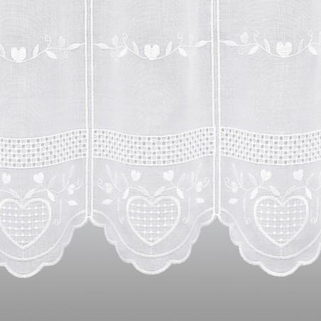 Bestickte Landhaus-Scheibengardine Herz Weiß Detail Stickerei