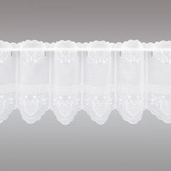 Bestickte Landhaus-Scheibengardine Herz Weiß 30 cm hoch ohne Fenster