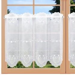 Bestickte Landhaus-Scheibengardine Herz Weiß 45 cm hoch an einem Fenster